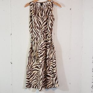 Rafaella 10 animal print career belted linen dress